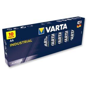 Paket med 10 stycken Alkaliska Batterier AA Varta Industriella.