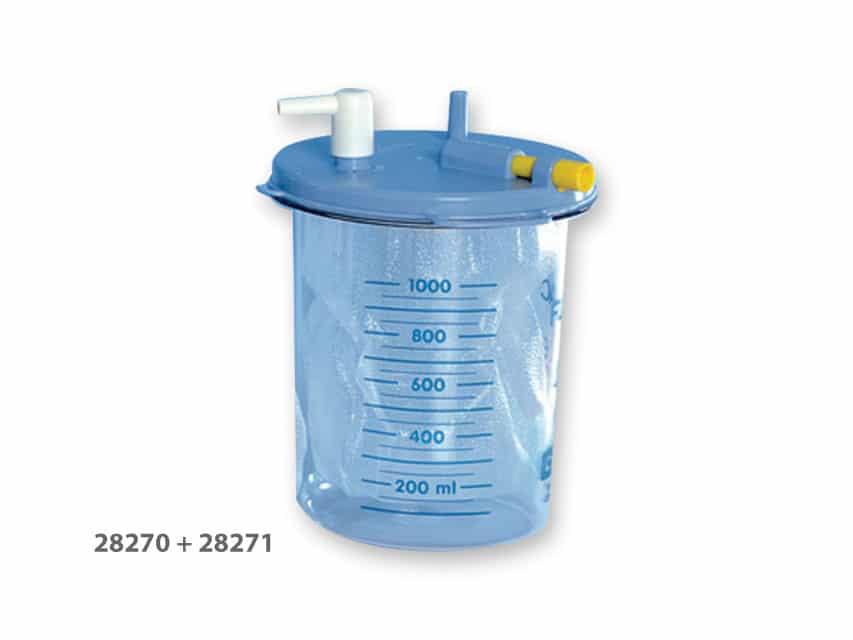 Flaska 1000 ml avsedd för engångspåse till Sugsystem Super Vega