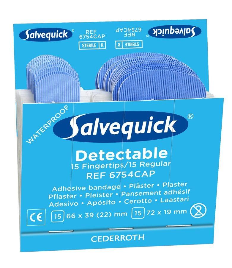 Salvequick Blå Detectable Fingertip/Regular Plåster
