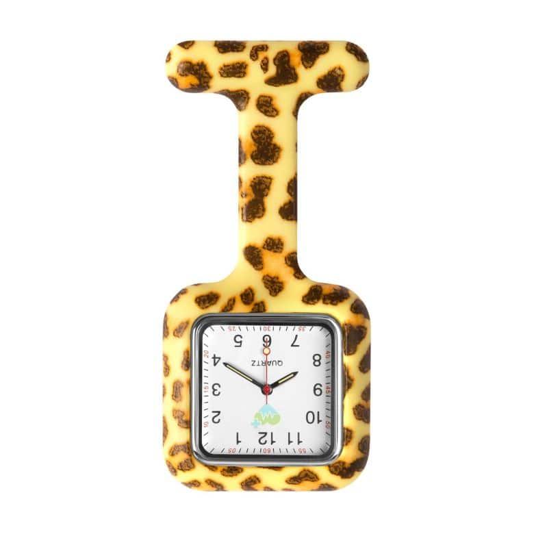 Klocka med silikonskal för sjuksköterskor Leopard fantasy