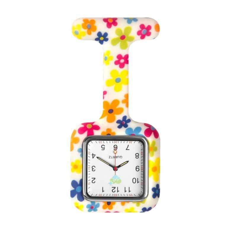 Klocka med silikonskal för sjuksköterskor Flowers fantasy