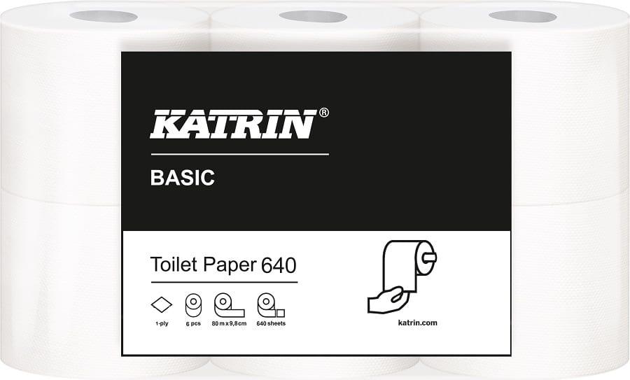 Toalettpapper Katrin Basic 640 1-lager 80m