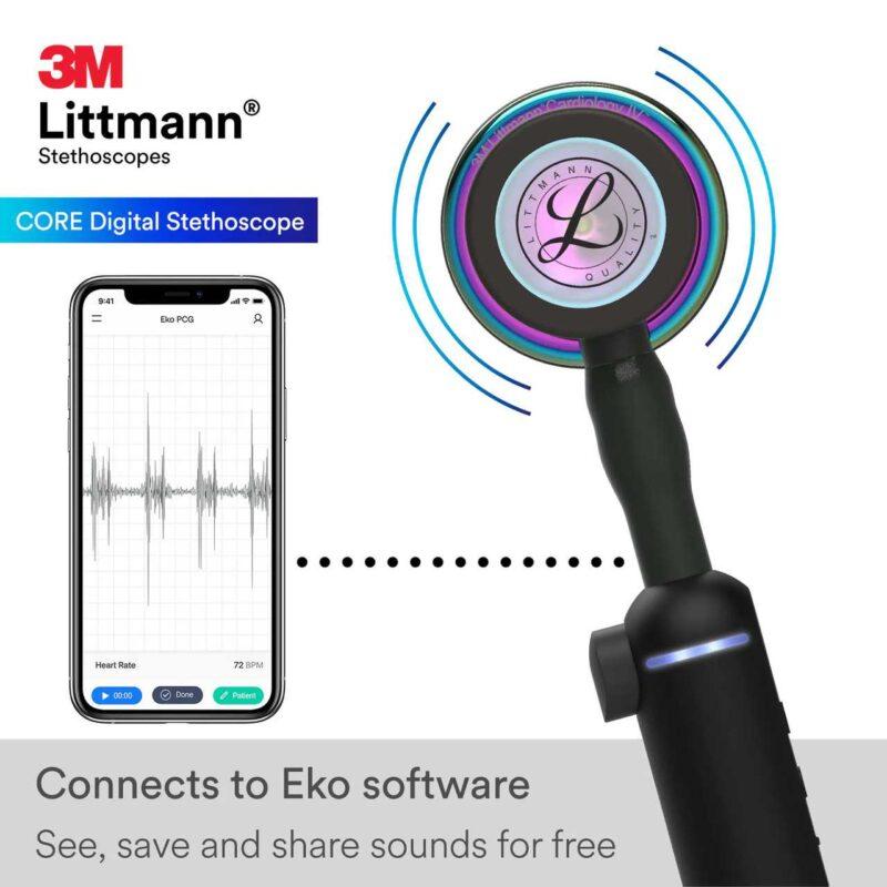 Visar att Littmann CORE Digital Rainbow kan anslutas till EKO App
