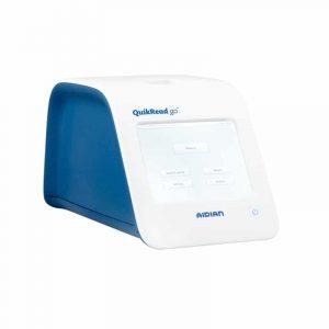 visar bild på instrumentet QuickRead Go i färgerna blått och vitt