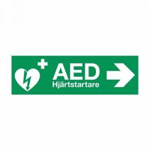 AED klisteretikett 29,7x10,5cm Höger pil