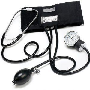 Tradionell blodtrycksmätare med integrerat stetoskop