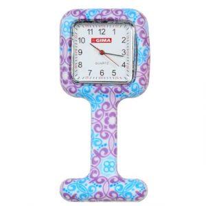 Klocka med silikonskal för sjuksköterskor (Violet & Sky Blue Fantasy)